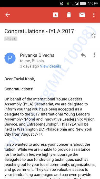 IYLA 2017 invitation as a delegate from India Email screenshot - 1