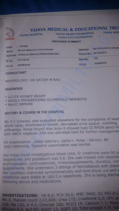 Case Report @ Vijaya Hospital