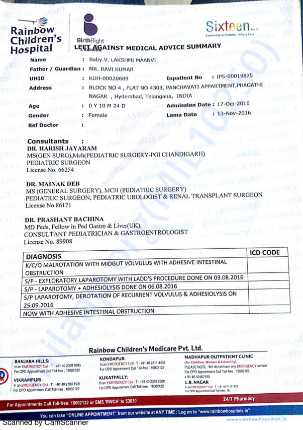 Lakshmi Maanvi's medical summary report
