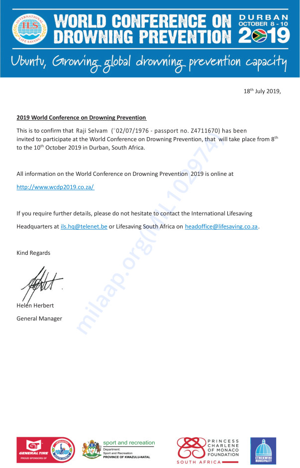 Selvam's Invitation Letter To The World Conference