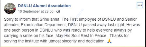 DSNLU Alumni Society FB page screenshot