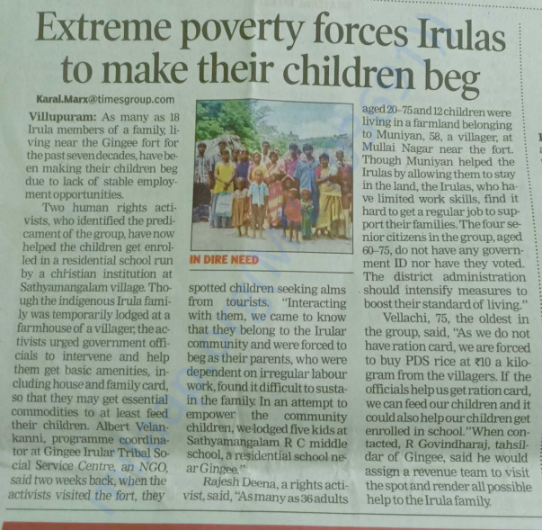 Extreme poverty forces Irulas to make their children beg