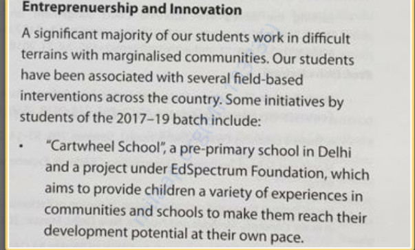 Cartwheel School got a mention in TISS Annual Report 2018-19