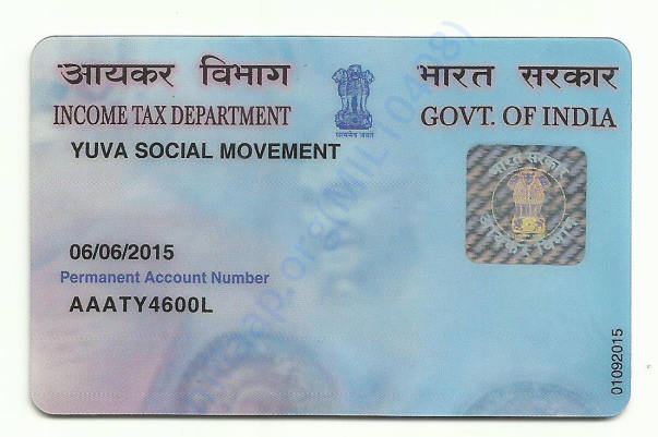 Pan card of the organization