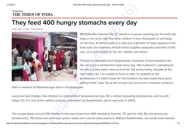 Times of India covers the food drive
