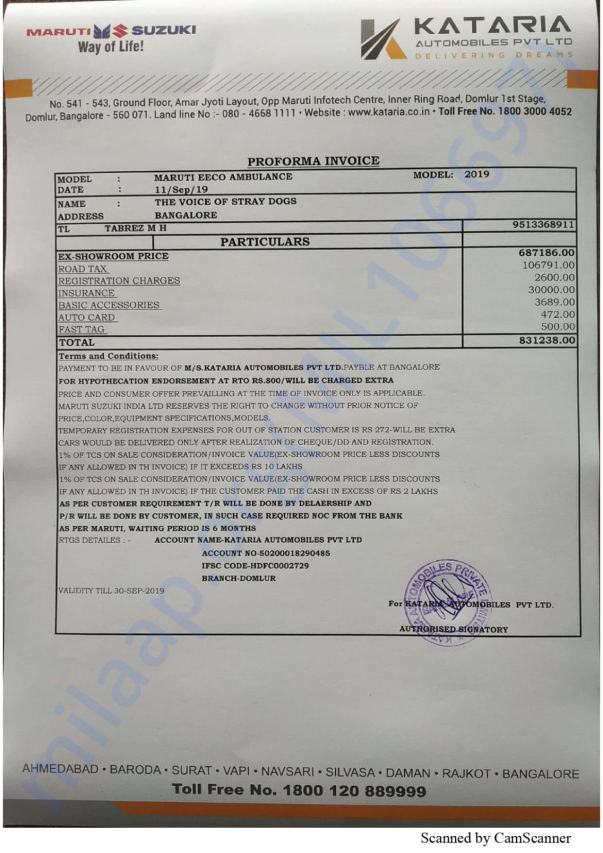 Proforma Invoice for Vehicle