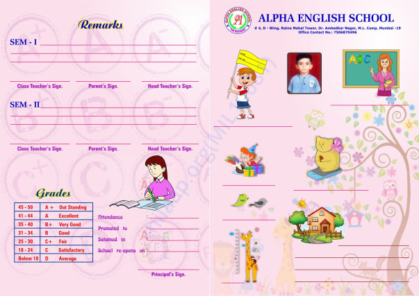Progress card of kids