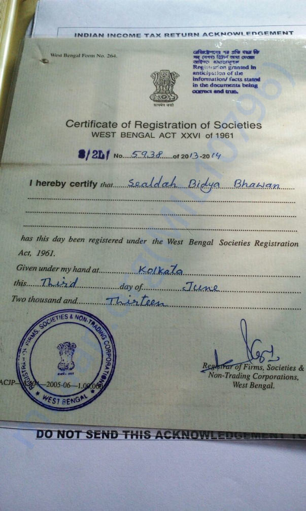 Our Organization Registration Certificate