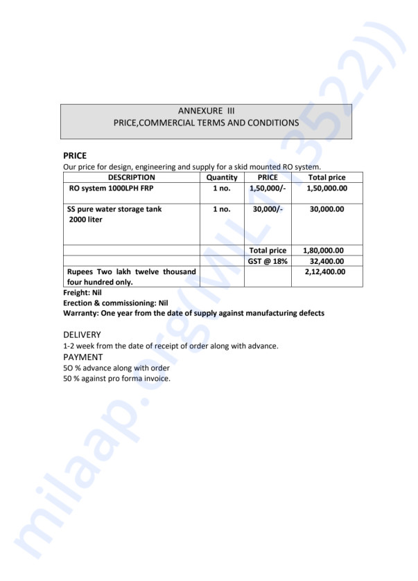 Water Plant Invoice