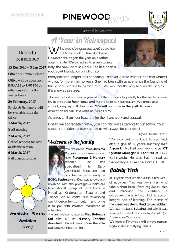 Annual newsletter 2016