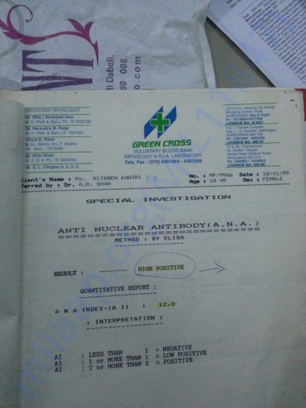 Blood report in 1999