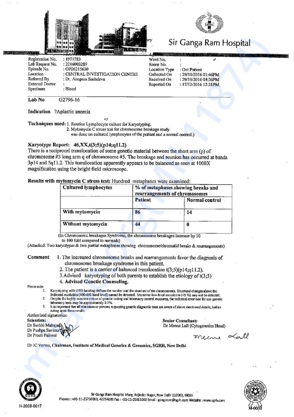 Ravya Chromosomal Breakage Report