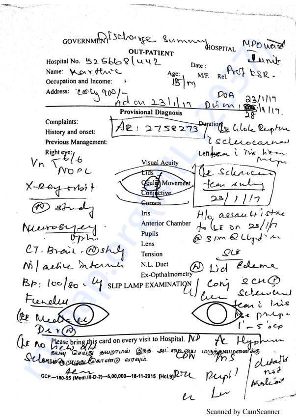 Karthik Medical Report