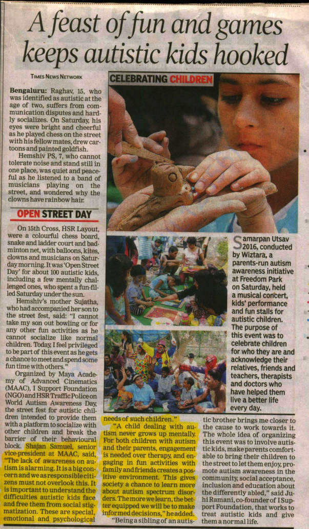 Other Social initiatives - Open Street Festival for Autism Kids .