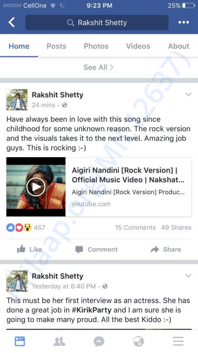 Appreciation by Sandalwood Actor / Director Rakshith Shetty Sir...