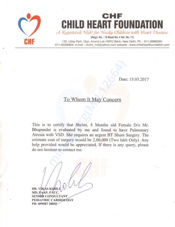 Letter via Pediatric Cardiologist