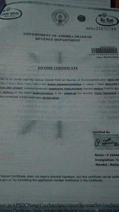 Income proof certificate of Abdul Malik's father
