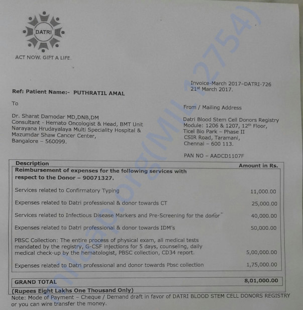 Bone marrow transplant invoice