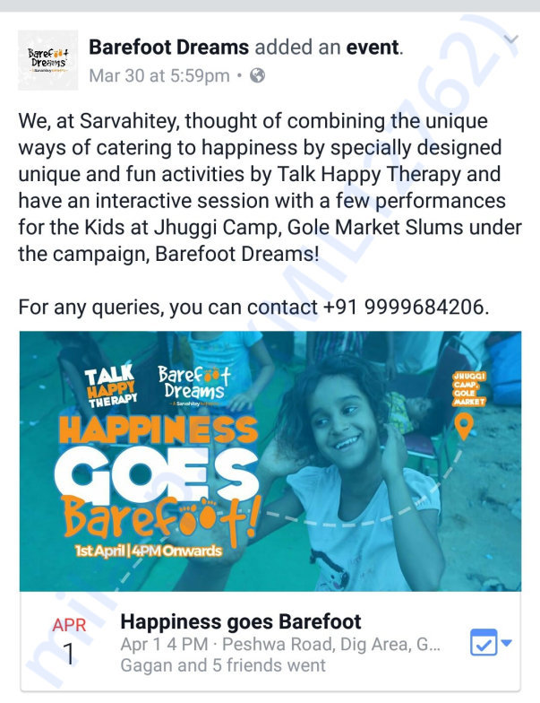Talk happy therapy, jhuggi camp, gole market, delhi.