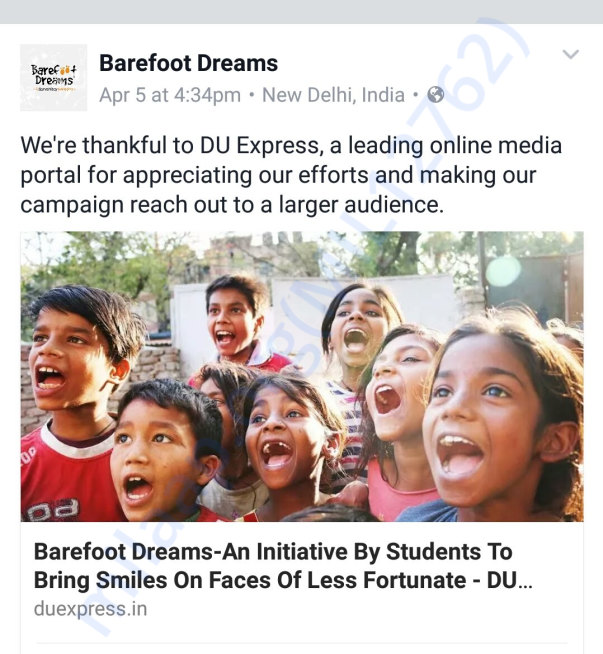Campaign highlights in delhi based online media portal DU Express.