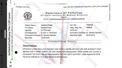 AIIMS - Abdomen Biopsy and Histopathology report