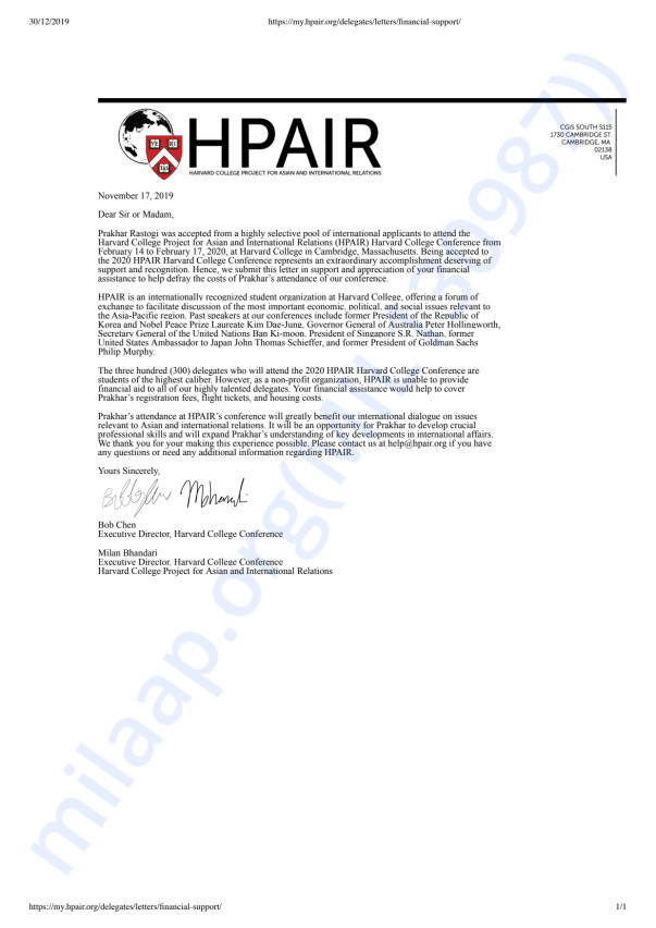HPAIR Financial Support Letter