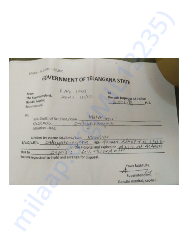 Death( Postmortem) report of Srujana's father