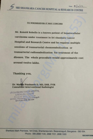 Letter from the hospital - Sri Shankara Cancer Hospital