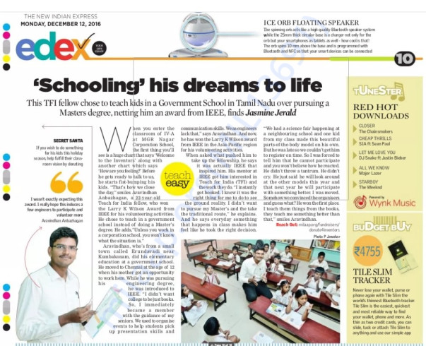 'The New Indian Express' article about Inventors dated Dec 12, 2016