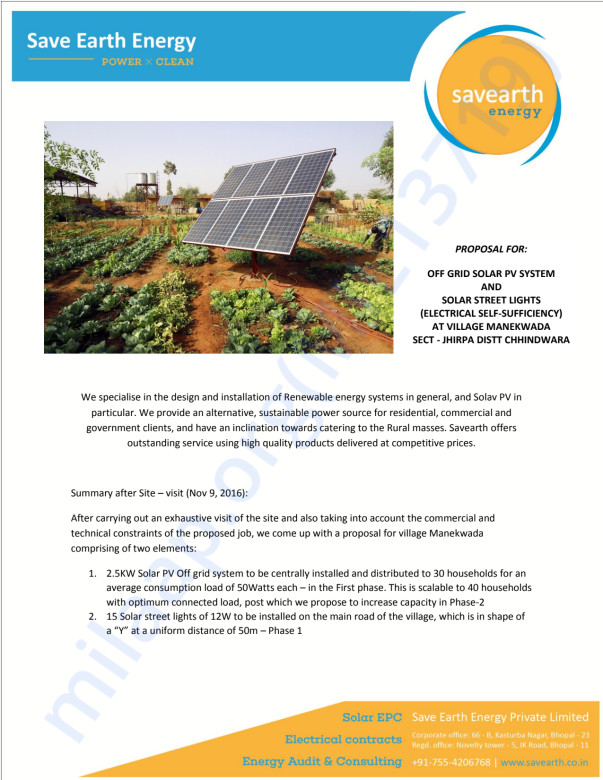 Plan For Manakwada Solar Electrification