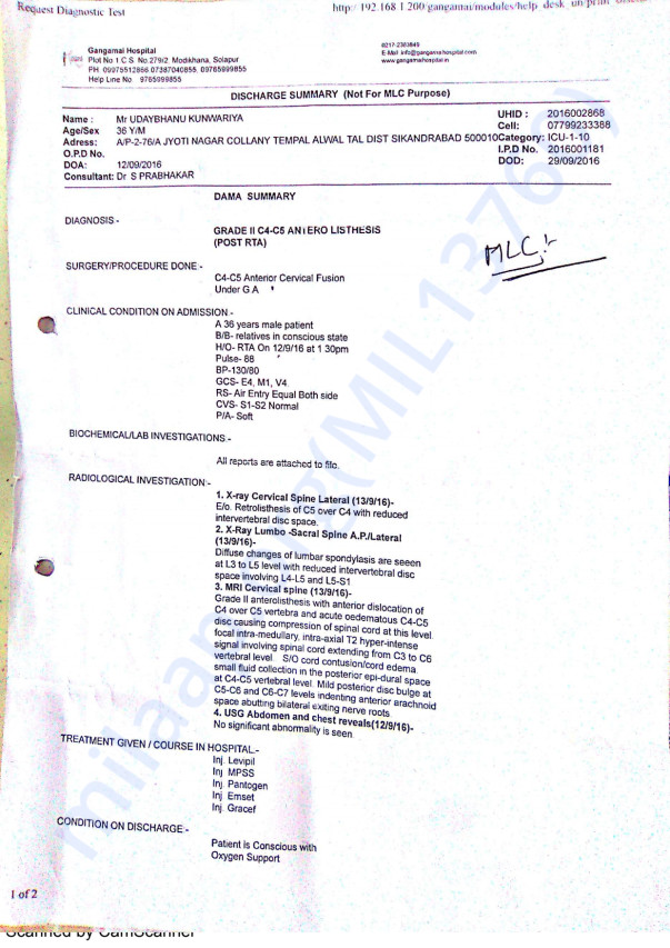 Uday Bhanus Medical reports and summary details from various hospitals