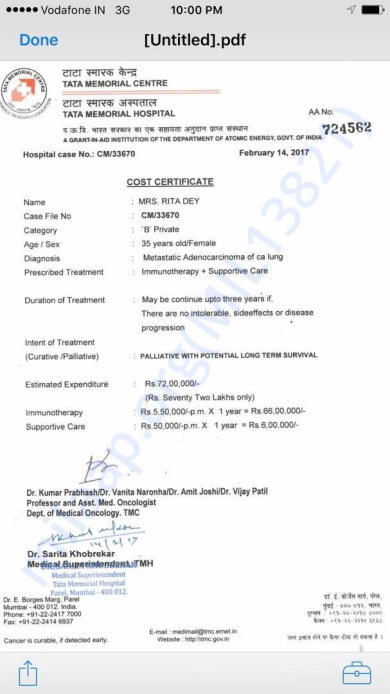 Treatment Estimate Letter
