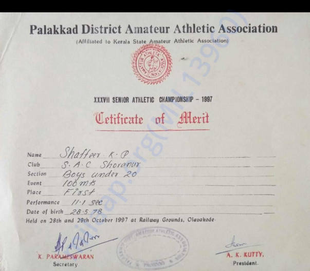 Palakkad District Amateur Athletics 1997- Men's 100m -First