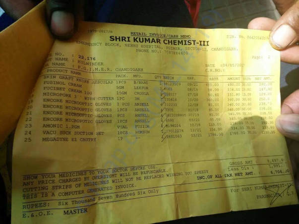 One of medical bill