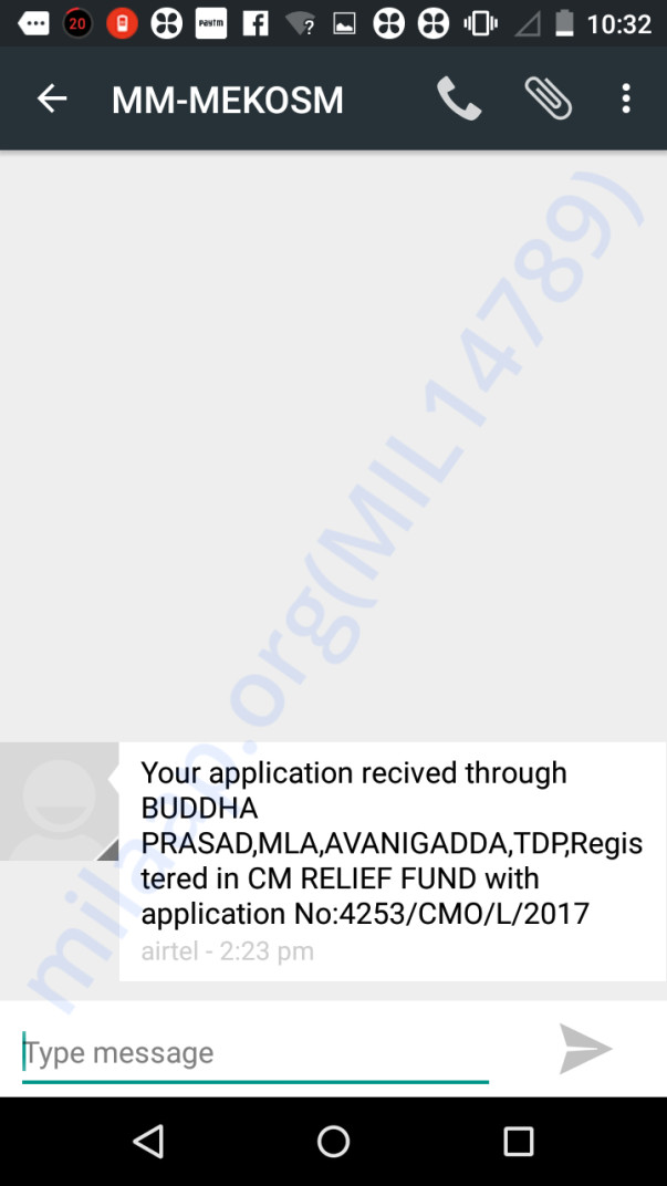 Applied for CM Relief Fund