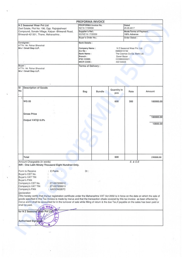 Proforma Invoice for 600 raincoats fot the children