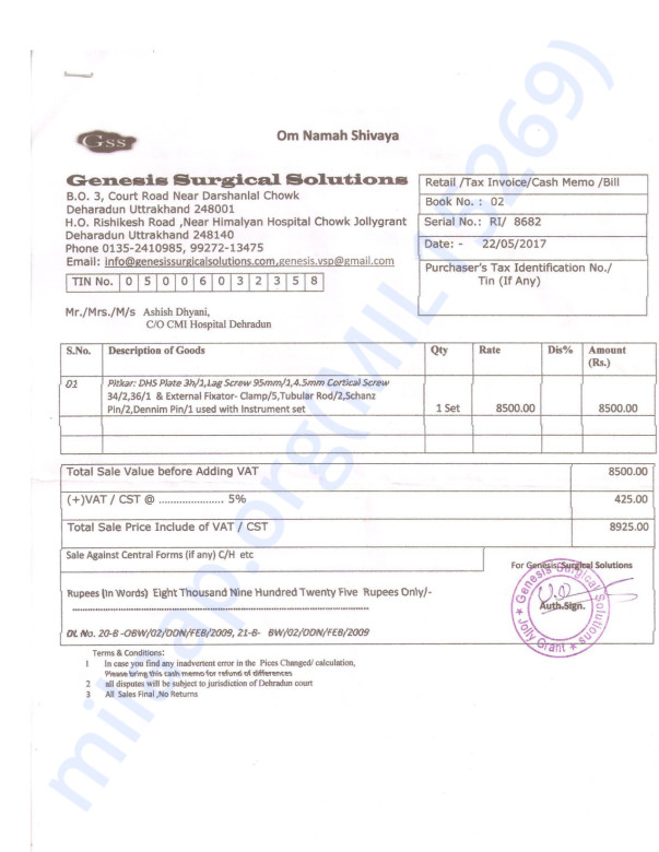 Ashish Blood And Other Medical Equipment Bills