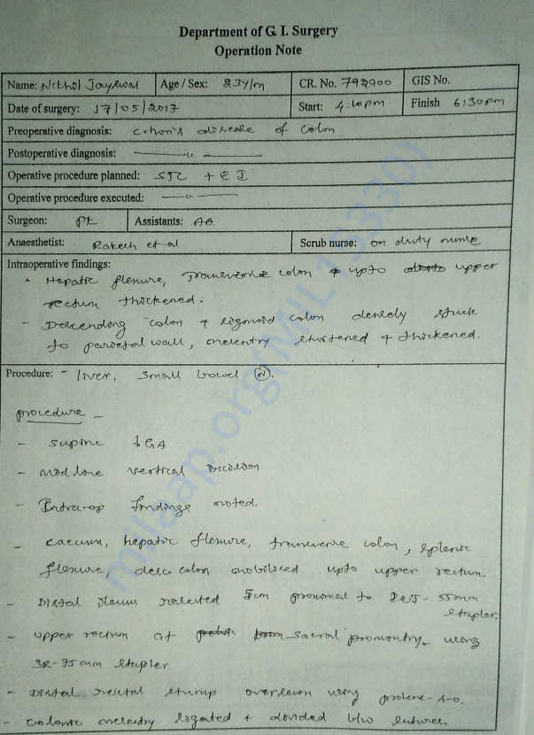 Medical Record - 23 - 5th Hospital Admission - Operation Note - 1