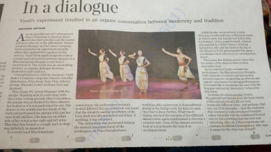 Vyuti's Review in The Hindu, Bangalore