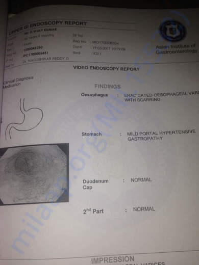 Endoscopy test report