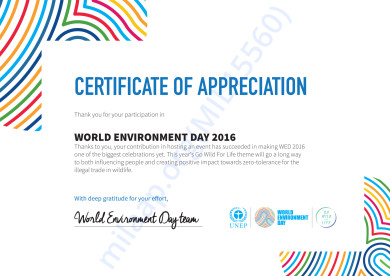 CERTIFICATE OF APPRECIATION by UNEP