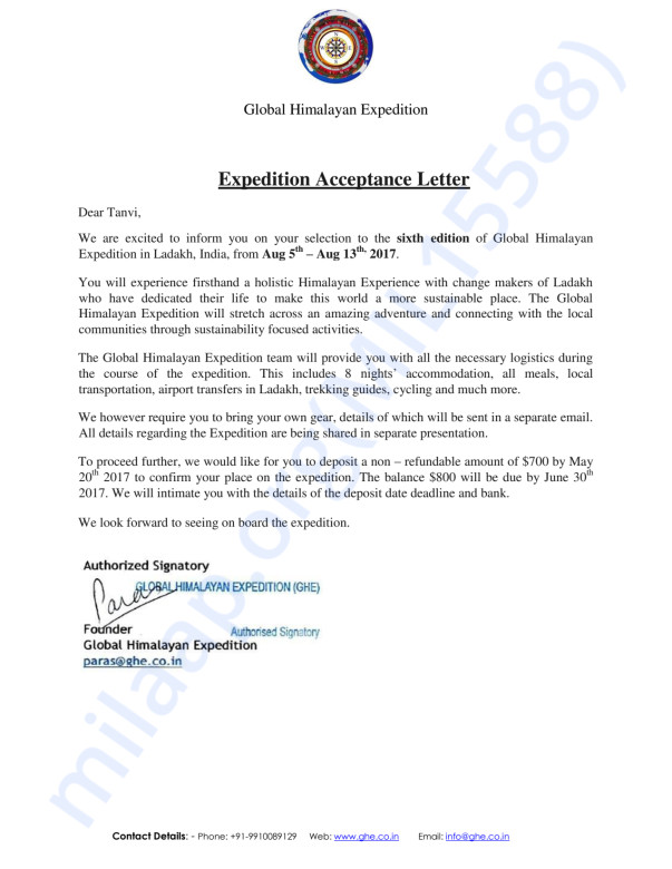 Expedition Acceptance Letter