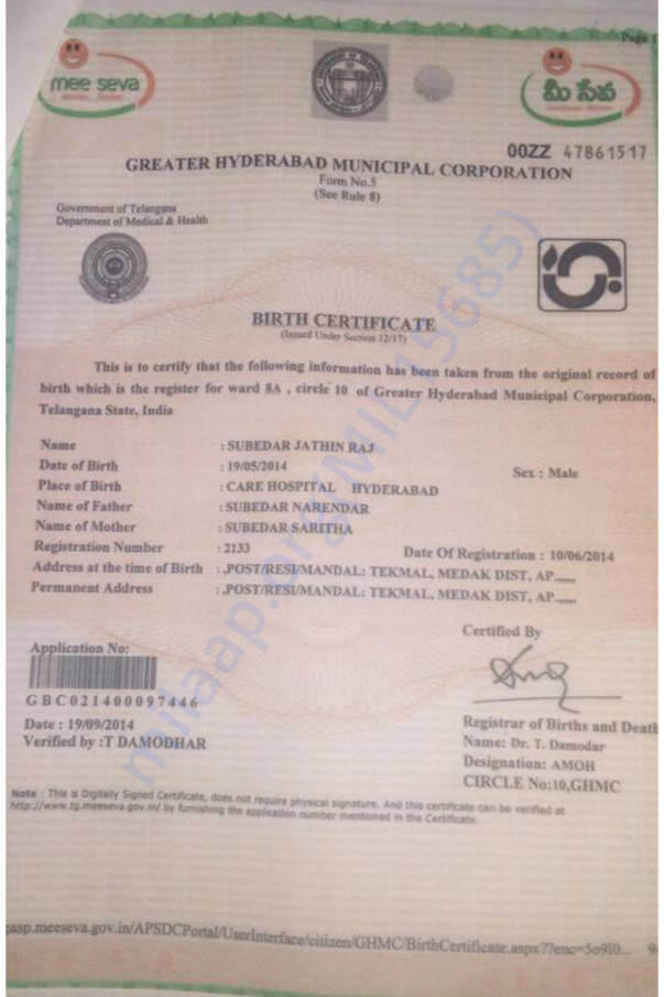 S. Jathin Raj birth certificate