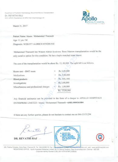 doctor's and hospital's (Appollo Chennai) estimate letter