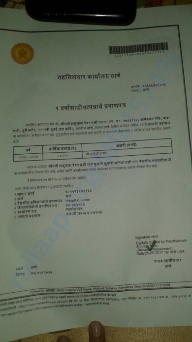Income Certificate from Thane Tahasildar office.
