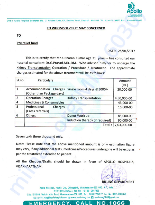 BHARAN KUMAR KGITHA - KIDNEY TRANSPLANTATION - MEDICAL REPORTS