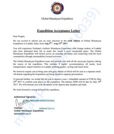 GHE Expedition Letter