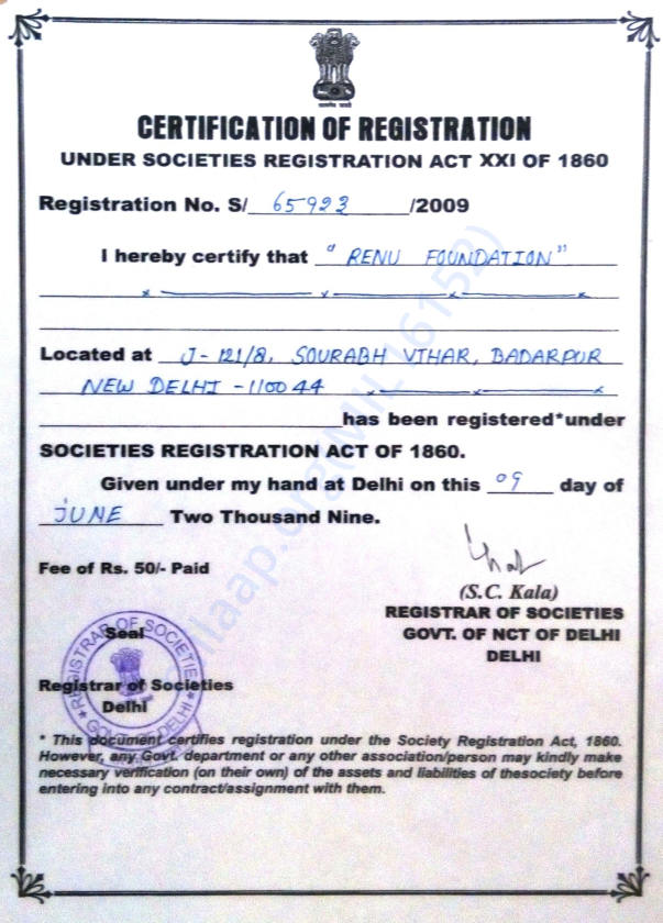 Registration Certificate of Organisation