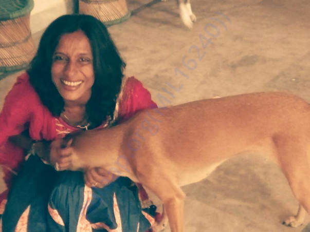 Trusts Founder Kaveri with Rescue Meethi-Mia.