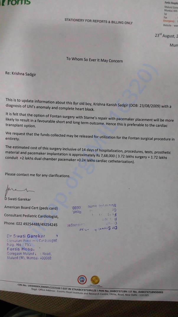 FONTAN SURGERY (Pace Maker) ESSTIMATE LETTER ISSUED BY FORTIS HOSPITAL